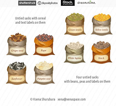 Untied sacks with cereals and names (ksena_shu) Tags: stock microstock food sacks cereals beans oilseeds cooking illustration icons