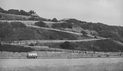 (Attila Pasek) Tags: bournemouth ilfordpanf pentaconsix volkswagen bw beach blackandwhite camera classic film minibus path zigzag