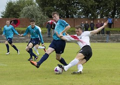 Alan Frizzell receiving close attention in the opening minutes (Stevie Doogan) Tags: clydebank glasgow perthshire exsel group sectional league cup wednesday 10th august 2016 holm park