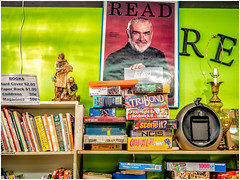 Bond Says READ ! (Patricia Colleen) Tags: seanconnery thriftstore books puzzles games poster read