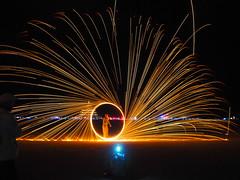 Steel Wool Spinner (michicat) Tags: burningman brc blackrockcity playa nevada burningmanatnight fireart