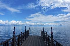A place to dream (ORIONSM) Tags: corfu greece boardwalk jetty sea ionian clouds blue sky azure