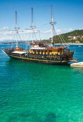 Ouranopolis Greece (designcover2006) Tags: teal emerald greece green sea shoar boat ship