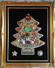 Christmas tree jewels (Karol Franks) Tags: handmade velvet black framed kitschy creative vintage collectible holiday pieces adorned tree christmas jewelry costume gems jewels