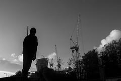 Building Worker (BournemouthMike) Tags: england blackandwhite london silhouette statue skyline bronze canon landscape cranes constructions buildingworker