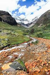 Quebrada Cayesh, Cordillera Blanca, Peru (Xuberant Noodle) Tags: mountain snow ice peru water america creek river stream south glacier valley andes