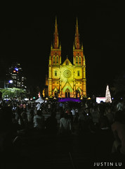 ST MARYS CATHEDRAL (SLYMURA) Tags: christmas city light summer people building tree church silhouette yellow vertical night canon landscape photography iso800 phone sony mary sydney australia 11 f2 sensor 2014 justinlu 600d oneplusone 2k14
