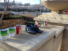 Open air food pantry (yooperann) Tags: park food chicago vegetables soup shoes day homeless sunny goods canned cans elgin chicagoist