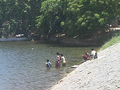 Washing in the Lake in Kataragama