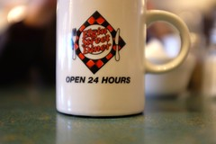 Ain't No Cure for the Hangover Blues (jessrawk) Tags: red white black green cup coffee blurry coffeecup ottawa diner blurred hangover hungover mug 365 50 caffeine thediner tabletop fifty open24hours elginstreetdiner esd