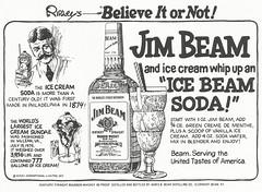 Ice Beam Soda, 1977 (STUDIOZ7) Tags: art recipe bottle comic cartoon drinking ripleys whiskey alcohol icecream 70s booze soda 1970s bourbon seventies trivia jimbeam believeitornot