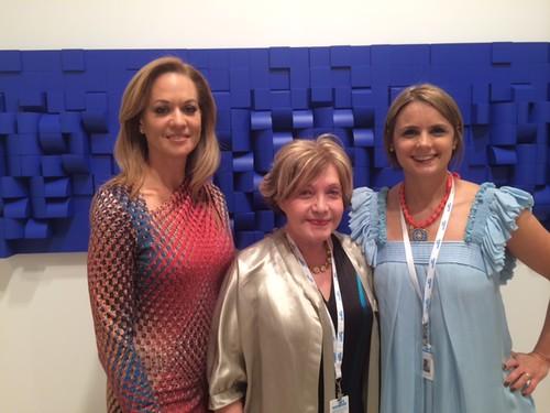 Carolina Caraccia, Elizabeth Castillo and Georgina Chumaceiro at their booth Art Nouveau (A 23) at the VIP Opening of Art Wynwood