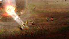 Finish badly / ... (Andrey Novosad) Tags: morning panorama playing art nature boys birds kids digital photomanipulation river landscape dead dawn dangerous ray russia wave away manipulation games run ufo landing human finish unknown acoustic catch got contact dust caught matte badly breaking photorealistic