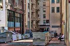 2015_03_07 Harlan Place, San Francisco, Calif_8 (Walt Barnes) Tags: sanfrancisco city urban building brick window architecture stairs dumpster skyscraper canon eos garbage alley downtown steps streetscene structure calif fireescape brickwork topaz streetshoot 60d canoneos60d topazadjust eos60d wdbones99