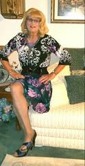 Purple Flowered Skirt (bobbievnc) Tags: black tv highheels legs cd skirt blouse tgirl short blonde pantyhose crossdresser crossdress sexylegs shortskirt flowered blackpantyhose tanpantyhose pantyhoselegs