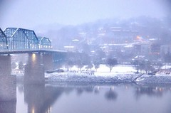 Coolidge Park Snowstorm (Roland 22) Tags: park blue orange white snow cold reflection beautiful misty fog lights evening twilight flickr glow tennessee northshore walnutstreetbridge blizzard wintertrees tennesseeriver chattanoogatn coolidgepark bluffviewartdistrict graycloudysky