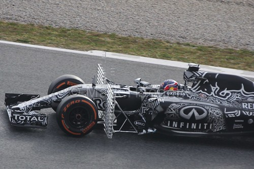 Daniil Kvyat in his Red Bull in Formula One Winter Testing 2015