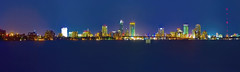 Panoramic view of the skyline of Jacksonville, Florida, U.S.A.  / The River City by the Sea (Lago Tanganyika) Tags: city longexposure urban usa building skyscraper cosmopolitan cityscape metro florida panoramic citylights highrise jacksonville metropolis bluehour metropolitan density centralbusinessdistrict northflorida sunshinestate nikond7100 rivercitybythesea