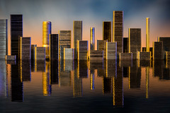 Staple City sunset (sophiaspurgin) Tags: staples city skyline sunset reflection ripples towers
