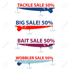 vector design with bait wobbler for sale fishing tackle shop (gratefuldreadradio) Tags: bait fishing fish vector lure set hook tackle illustration crank sport water symbol object icon equipment leisure hobby catch wobbler fishhook spinning bass silhouette metal activity color gray blue baitwobbler flat shop concept tee predator half red sale trade banner sticker market price retail discount product shopping promotion season poster postcard trend flayer