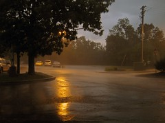 Thunderstorm Monroeville Pa. 7 14 2016 (Sea Moon) Tags: storm rain weather yellow reflections dark lights golden evening glow wind dusk streetlights rainstorm sodium cloudburst