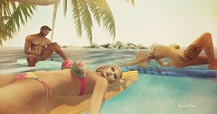 Chilling and Surfin... we  it ;) (BijankRau | [ photograp'r model.]) Tags: summer vacation holiday beach wet water pool palms photography photographer furniture dove bad bbq moi blogger surfing chez chilling secondlife blogging tropical poses lw surfin virtualworld luanes