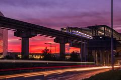 Beautiful Sunset (703) Tags: da18135mm haneda hanedaairport japan lighttrails pentaxk5 tokyo tokyomonorail airport cityscape dusk lightrails night nightscape nightscene nightview sunset twilight