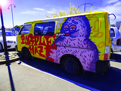 Purple Haze (Steve Taylor (Photography)) Tags: purplehaze jimmyhendrix riff monster hairy hirsute van wickedcampers purple yellow red blue art graffiti mural streetart crazy mad strange odd fun newzealand nz southisland glare lensflare sunny sun sunshine