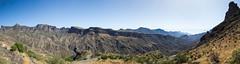 Roque Nublo (Luis GA) Tags: d3100 nikon paisaje landscape canarias canary montaa mountain verano summer panoramica panoramic cielo sky azul blue sol sun road carretera lugamor luisga sea mar roquenublo grancanaria spain espaa