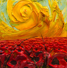 WF24X24-2016-147 (Justin Gaffrey) Tags: poppies poppyfield flowers wildflowers florals art painting artist justingaffrey acrylicpaint nature red gold 30aart 30a sowal florida floridaart