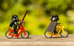 Darth & Kylo bike ride (jezbags) Tags: lego macro macrophotography macrodreams macrolego kylo kyloren darth vader ren darthvader star wars starwars green red orange black canon60d canon 60d 100mm closeup upclose bike bikeride ride