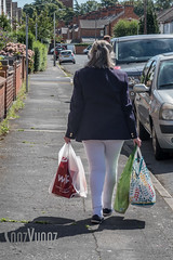 Can't Wait to Take the Weight Off (Sue_Hutton) Tags: august2016 loughborough alphabetchallenge2016 hforheavy pedestrian shoppingbags street summer