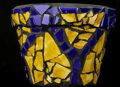 Clay Pot With Orange And Blue Mosaic (Bill Gracey) Tags: pot claypot offcameraflash softbox yn560iii yongnuorf603n mosaic craft orange blue color colorful homestudio tabletopphotography blackbackground maria