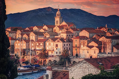 day's last embers (cherryspicks (intermittently on/off)) Tags: korcula island adriatic architecture building sunset historic travel summer outdoor landscape city croatia town light waterfront