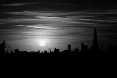 London (Michael Adedokun) Tags: blackandwhite sky monochrome silhuette london sunset canon skyline skyscrapers theshard londoneye explore