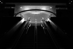 down in the belly (ChrisRSouthland (away and mainly off for several w) Tags: athens elmarit28mmf28 leica mmonochrom mm city escalator stairs station urban subway subwaystation tube belly captureone newprocessing