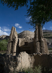 Old muslim shrine, Badakhshan province, Khandood, Afghanistan (Eric Lafforgue) Tags: afghan343 afghanistan ancient badakhshanprovince centralasia colourimage death grave islam khandood nopeople nobody outdoors pamir photography religion ruins shrine tomb tree vertical wakhan