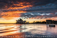 First Light (James Whitlock Photography) Tags: australia nsw new south wales sydney cbd opera house harbour bridge sunrise sun colour cloud sails reflection water landscape amazing sky light wave perfect timing lee filters nikon d810