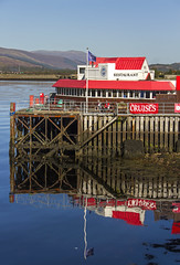 Crannog Seafood Restaurant (Kev Gregory (General)) Tags: crannog seafood restaurant serving local fish meat renowned redroofed building town pier overlooking loch linnhe fort william scottish highlands kev gregory canon 7d water still reflections colour vibrant scenery blue sky