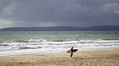 Done surfin' (SteveJM2009) Tags: surfer board sea seaside sunday sun clouds surf waves seafront coast dorset uk october 2016 autumn stevemaskell