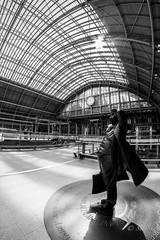 The Betjeman Statue, St Pancras Station, London. (Sue_Shaw) Tags: betjeman betjemanstatue statue sculpture stpancrasstation stpancras london trainstation architecture travel canon canoneos canon60d fisheye