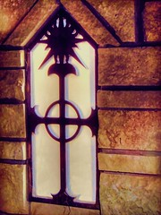 Cross Window with Sun (clarkcg photography) Tags: gothic celtic renaissance iron glass window cross circle sun rock windowwednesday