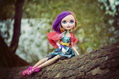 Escape (EliMalone) Tags: poppy ohair doll hair hairdressing hairdresser short rapunzel purple ashlynn ella cinderella tree walk walking cape brair beauty sleeping nature green rebel rebellious