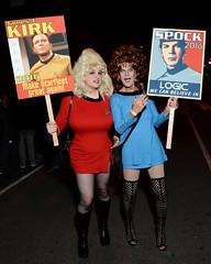 Star Trek drag queens at the race! (rgaines) Tags: costume cosplay crossplay drag startrek tos dragqueens halloween highheelrace kirk spock funny humor election yeomanjanicerand