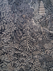 "Key Block for the ""OVERLOOK"" Woodcut (Tugboat Printshop) Tags: trees panorama art pine forest print landscape pattern panoramic carving printmaking overlook edition woodcut woodcarving woodblock woodcutting tugboatprintshop"