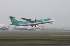 "EI-FCZ ""St Seanan"" (aitch tee) Tags: weather misty takeoff aerlingus atr72 walesuk cardiffairport stobartair namedaircraft eifcz stseanan"