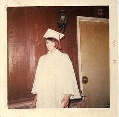 found: grad (~filth~filler~) Tags: found scanned photos polaroid 3502 6502 graduation gown cap 1968 1960s graduate school white may