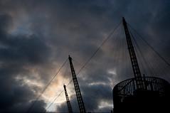 Greenwich Peninsula (Paul 's film and photography work) Tags: urban london industry leaves december greenwich demolition 02 peninsula soccerdome victoriadeepwaterterminal