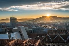 Graz - old and modern (Bernd Thaller) Tags: city roof sunset austria smog sterreich nikon sonnenuntergang stadt graz steiermark styria d800 dcher