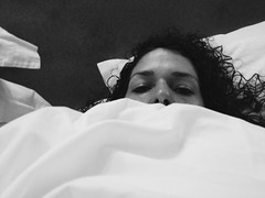 319/365 (moke076) Tags: vacation portrait bw italy white milan cold me wet face oneaday mobile self hair bed europe european cellphone cell down sheets hidden curly photoaday 365 sick flu laying iphone selfie 2014 project365 365project vsco vscocam